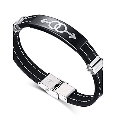 voordelige Heren Armband-Heren ID-armband Vriendschap Rock Modieus Hip-hop Movie Jewelry Siliconen Armband sieraden Zwart Voor Kerstcadeaus Verjaardag Lahja Sport / Titanium Staal