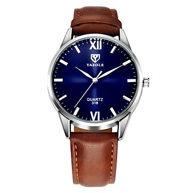 ieftine Ceasuri Bărbați-YAZOLE Bărbați Ceas de Mână Piele Negru / Maro Ceas Casual Analog Clasic Casual Ceas simplu - Negru Maro Un an Durată de Viaţă Baterie