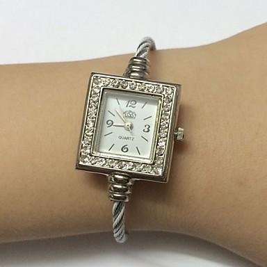 للمرأة ساعات فاشن ساعة المعصم صيني كوارتز معدن فرقة سوار عادية الأبيض