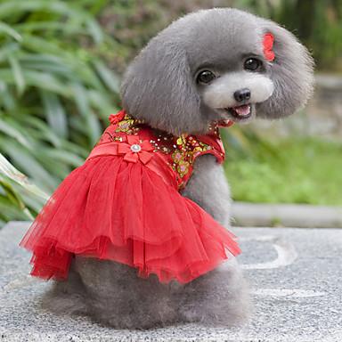 كلب الفساتين ملابس الكلاب الزفاف الأزهار/النباتية أرجواني أحمر أزرق زهري كوستيوم للحيوانات الأليفة