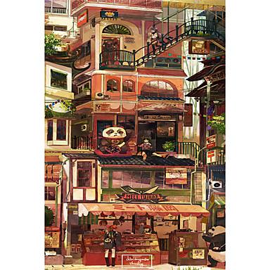 Legpuzzel Speeltjes Kat Kasteel Beroemd gebouw Huis Architectuur Cartoon Hout Unisex Stuks