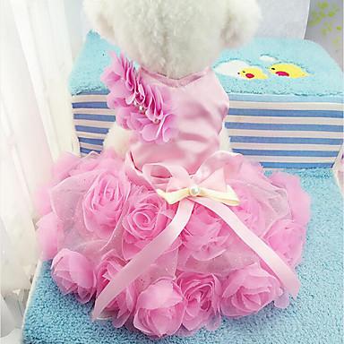 كلب الفساتين ملابس الكلاب كاجوال/يومي الأزهار/النباتية أرجواني زهري