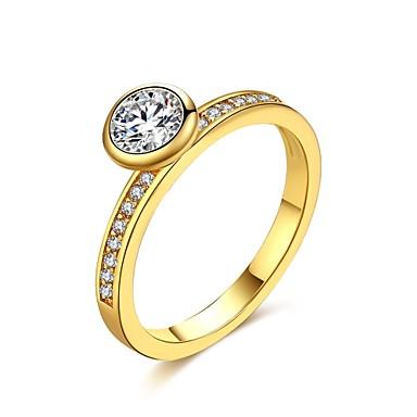Pentru femei Inel Zirconiu Cubic Auriu Argintiu Zirconiu Articole de ceramică Argilă Placat Auriu 18K Aur Geometric Shape neregulat