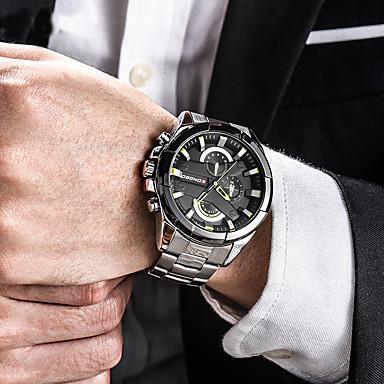 07c016840f5 Homens Relógio de Pulso Japanês Aço Inoxidável Preta   Prata   Dourada 30 m  Impermeável Calendário