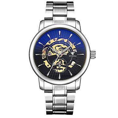 Herrn Totenkopfuhr Mechanische Uhr Japanisch Automatikaufzug Nachts leuchtend Legierung Band Silber