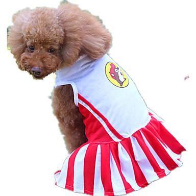 كلب الفساتين ملابس الكلاب مخطط أحمر تيريليني كوستيوم للحيوانات الأليفة كاجوال/يومي