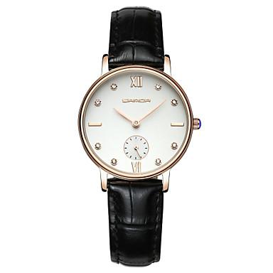 SANDA Damen Modeuhr Armbanduhr Kleideruhr Japanisch Quartz Wasserdicht Leder Band Charme Glanz Elegant Schwarz Weiß Rot Braun