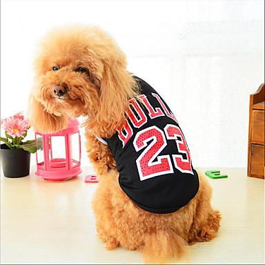 قط كلب سترة ملابس الكلاب حرف وعدد أسود أحمر قطن كوستيوم للحيوانات الأليفة للرجال للمرأة كاجوال/يومي