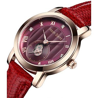 Dames Modieus horloge Polshorloge Kwarts Waterbestendig Leer Band Rood Paars