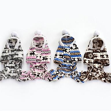 Hond Hoodies Jumpsuits Kerstmis Hondenkleding Kerstmis Grijs Bruin Blauw Roze Katoen Dons Kostuum Voor huisdieren Heren Dames
