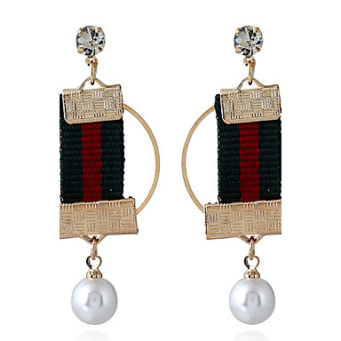 للمرأة أقراط قطرة لؤلؤ تقليدي مخصص سبيكة Circle Shape مجوهرات لباس يومي فضفاض خشبة المسرح