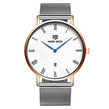 Herrn Modeuhr Armbanduhr Quartz Kalender Legierung Band Silber