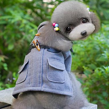 Hund Mäntel Hundekleidung Solide Schwarz Grau Khaki Wollen Baumwolle Daune Kostüm Für Haustiere Herrn Damen Lässig/Alltäglich Winddicht