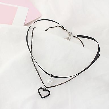 Pentru femei Inimă Formă Euramerican Modă Coliere Choker Imitație de Perle Aliaj Coliere Choker Zilnic Costum de bijuterii