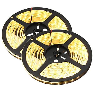 HKV Fâșii De Becuri LEd Flexibile 300 LED-uri Alb Cald Alb Ce poate fi Tăiat Rezistent la apă Auto- Adeziv De Legat DC 12V