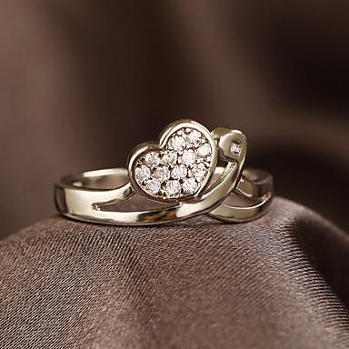 Pentru femei Inel de logodna Inel Argintiu Articole de ceramică Inimă LOVE Vintage Stras Panglici Inimă Modă Nuntă Petrecere Logodnă