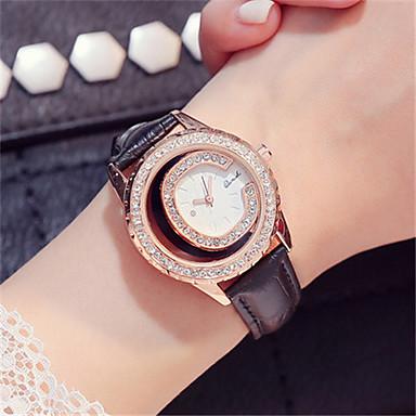 Dames Modieus horloge Polshorloge Kwarts Leer Band Zwart Wit Grijs
