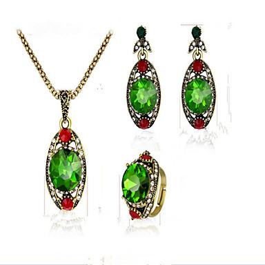 Damen Kristall Synthetischer Smaragd Synthetischer Rubin Krystall Kubikzirkonia vergoldet Schmuck-Set 1 Halskette 1 Ring Ohrringe - Retro