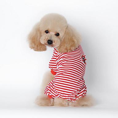 كلب T-skjorte ملابس الكلاب متنفس كاجوال/يومي مخطط أسود أحمر أزرق كوستيوم للحيوانات الأليفة
