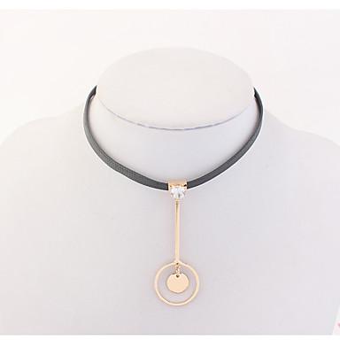 Damen Strass Halsketten - Euramerican Modisch Kreisform Schwarz Modische Halsketten Für Party