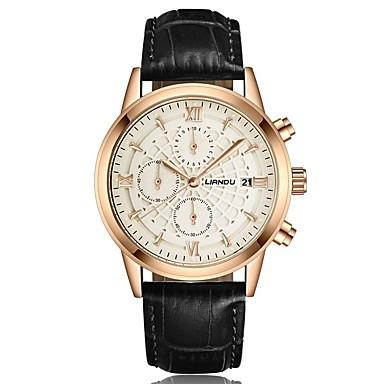 Heren Modieus horloge Kwarts Hot Sale Echt leer Band Informeel Zwart Bruin