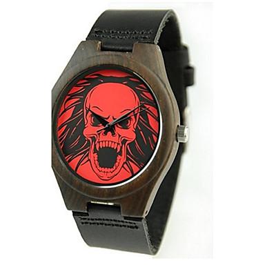 Heren Modieus horloge Horloge Hout Japans Kwarts houten PU Echt leer Band Amulet Elegant Kaki
