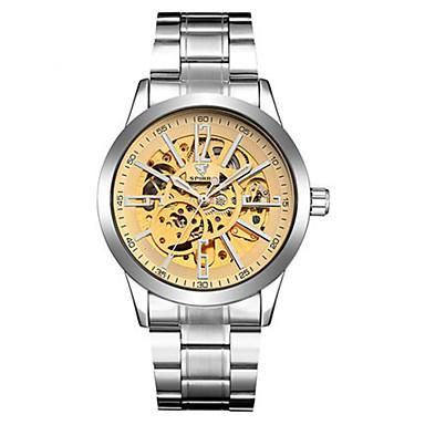 Heren Skeleton horloge mechanische horloges Japans Automatisch opwindmechanisme s Nachts oplichtend Legering Band Zilver
