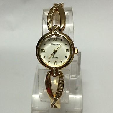 للمرأة ساعات فاشن ساعة المعصم ساعه اسورة صيني كوارتز معدن فرقة عادية ذهبي