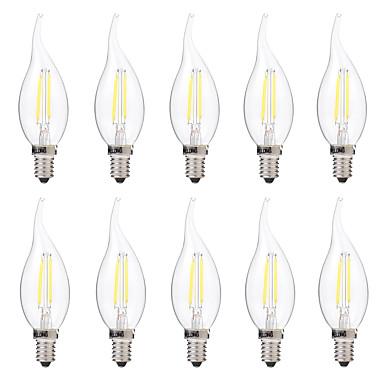 BRELONG® 10pcs 2W 200lm E14 Bec Filet LED C35 2 LED-uri de margele COB Decorativ Alb Cald Alb 220-240V
