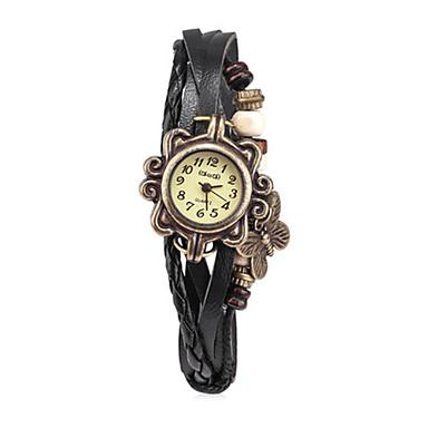 Dames Modieus horloge Kwarts Leer Band Zwart Wit Blauw Rood