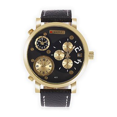 Heren Modieus horloge Unieke creatieve horloge Chinees Kwarts Kalender Drie tijdzones Grote wijzerplaat Leer Band Cool Zwart