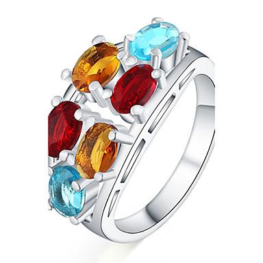 للمرأة خاتم مكعب زركونيا موضة تصفيح بطلاء الفضة Geometric Shape مجوهرات يوميا