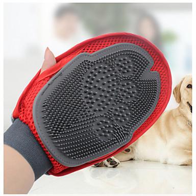 قط كلب التنظيف فرش المحمول أحمر