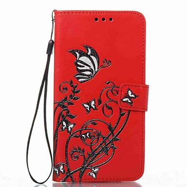 غطاء من أجل Samsung Galaxy J7 (2016) J5 (2016) محفظة حامل البطاقات مع حامل قلب مطرز نموذج كامل الجسم زهور قاسي جلد اصطناعي إلى J7 (2016)