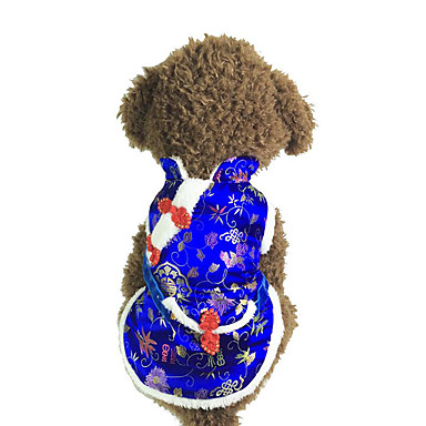 كلب ازياء تنكرية ملابس الكلاب رأس السنة تطريز أحمر أزرق كوستيوم للحيوانات الأليفة