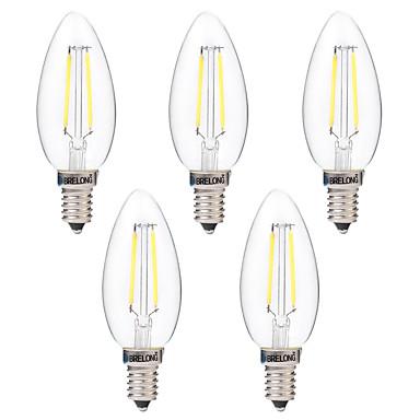 BRELONG® 5pcs 2W 200lm E14 LED필라멘트 전구 C35 2 LED 비즈 COB 밝기조절가능 따뜻한 화이트 화이트 220-240V