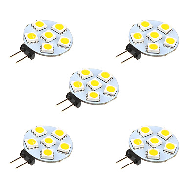 1W G4 2-pins LED-lampen 6 leds SMD 5050 Warm wit Wit 68lm 3000-3500/6000-6500K DC 12V