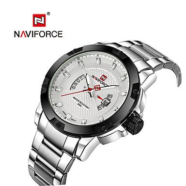 NAVIFORCE Herrn Quartz Armbanduhr Japanisch Kalender Wasserdicht Edelstahl Band Freizeit Kleideruhr Modisch Cool Silber