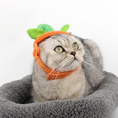 قط كلب قبعات و شرايط شعر ملابس الكلاب سادة برتقالي قماش قطيفة كوستيوم للحيوانات الأليفة الكوسبلاي Halloween