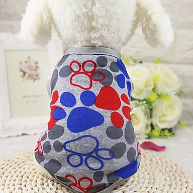 Chien Tee-shirt / Gilet Vêtements pour Chien Géométrique Gris / Bleu Coton Costume Pour les animaux domestiques Eté Homme / Femme Décontracté / Quotidien / Mode