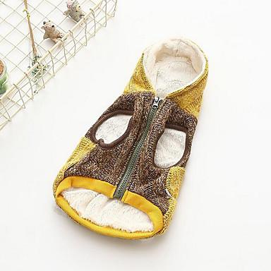 كلب البلوزات ملابس الكلاب كاجوال/يومي بريطاني أصفر زهري كوستيوم للحيوانات الأليفة