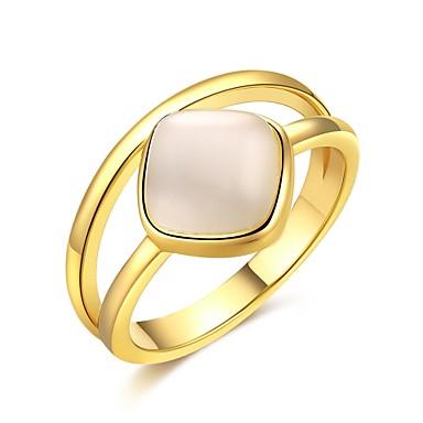 Pentru femei Inel Zirconiu Cubic Auriu Argintiu Zirconiu Articole de ceramică Argilă Placat Auriu Geometric Shape neregulat Personalizat