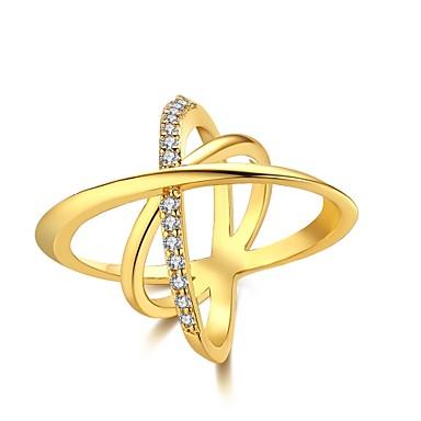 للمرأة خاتم مكعب زركونيا ذهبي فضي زركون نحاس تصفيح بطلاء الفضة مطلية بالذهب Geometric Shape غير منتظم مخصص ترف هندسي تصميم فريد كلاسيكي