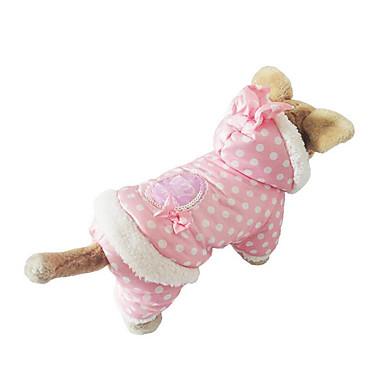 كلب هوديس ملابس الكلاب منقط البيج زهري قطن كوستيوم للحيوانات الأليفة للرجال للمرأة كاجوال / يومي