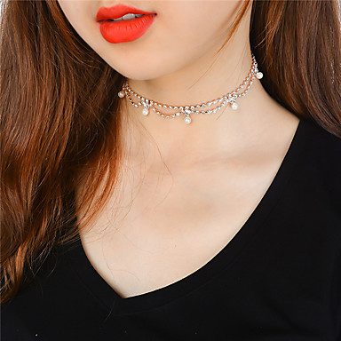 cheap Necklaces-Women's Obsidian Choker Necklace Tassel Ladies Tassel Fashion Cute Imitation Pearl Copper Rhinestone Gold Silver Necklace Jewelry For Party / Evening Daily Casual Evening Party
