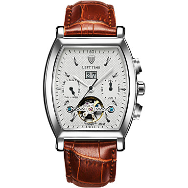 Bărbați Ceas Sport Ceas Schelet Ceas La Modă ceas mecanic Mecanism automat Calendar Rezistent la Apă Luminos Iluminat Piele Autentică