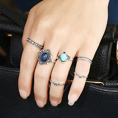 Damen Stulpring Ring Bandring Silber Metalllegierung Harz Aleación Kreisform Personalisiert Kreisförmiges Afrika Euramerican Modisch Rock