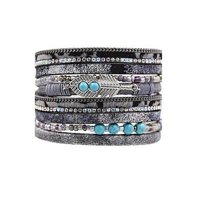 Dames Lederen armbanden Sieraden Vintage Bohémien Modieus Leder Kunstdiamanten Vierkant Sieraden Bruiloft Vuosipäivä Feest/Avond
