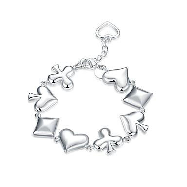 Damen Mädchen Kristall versilbert Ketten- & Glieder-Armbänder - Freundschaft Modisch Rock Punk Geometrische Form Silber Armbänder Für