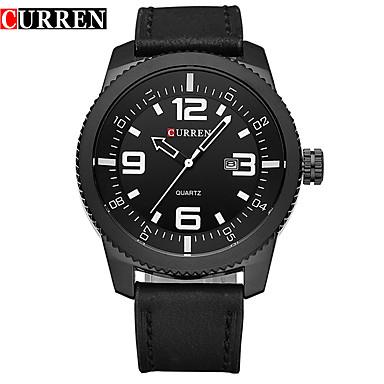 Herrn Quartz Armbanduhr Smartwatch Sportuhr Chinesisch Kalender Wasserdicht Großes Ziffernblatt Echtes Leder Band Charme Kreativ